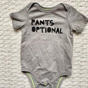 3/$10 Funny baby onesie- Pants Optional- gray- 12M